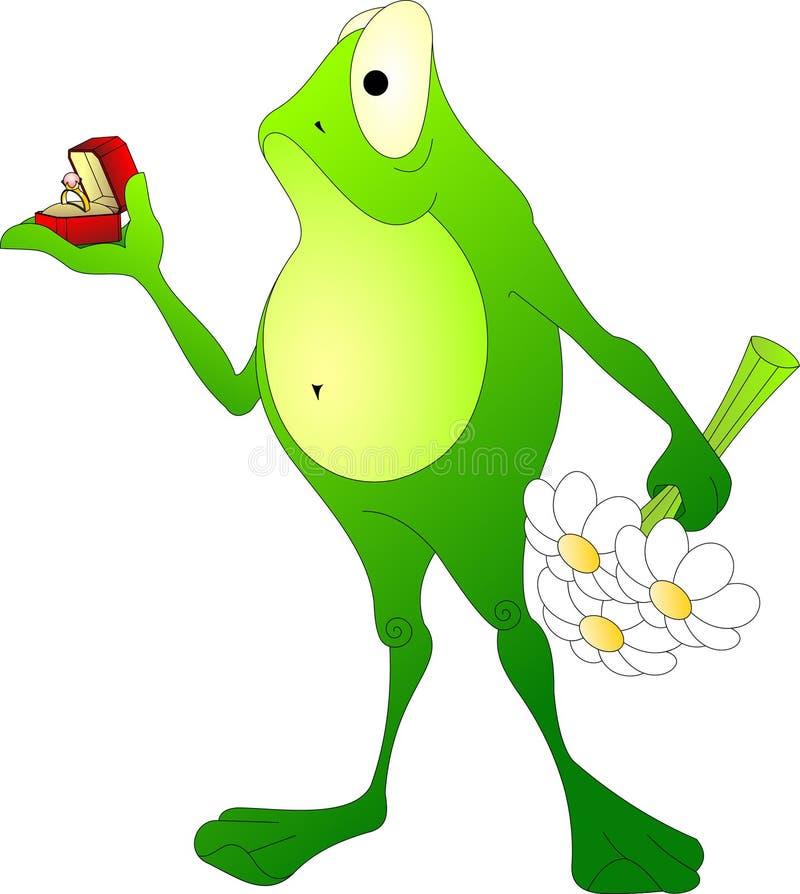 Une grenouille avec un bouquet des fleurs et d'un anneau fait une proposition illustration de vecteur