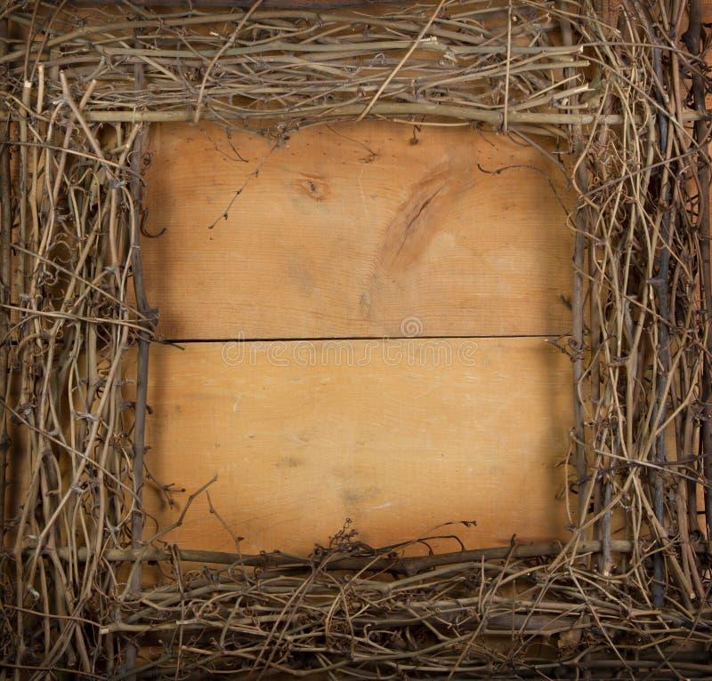 Une guirlande carrée de vigne sur un fond en bois image libre de droits