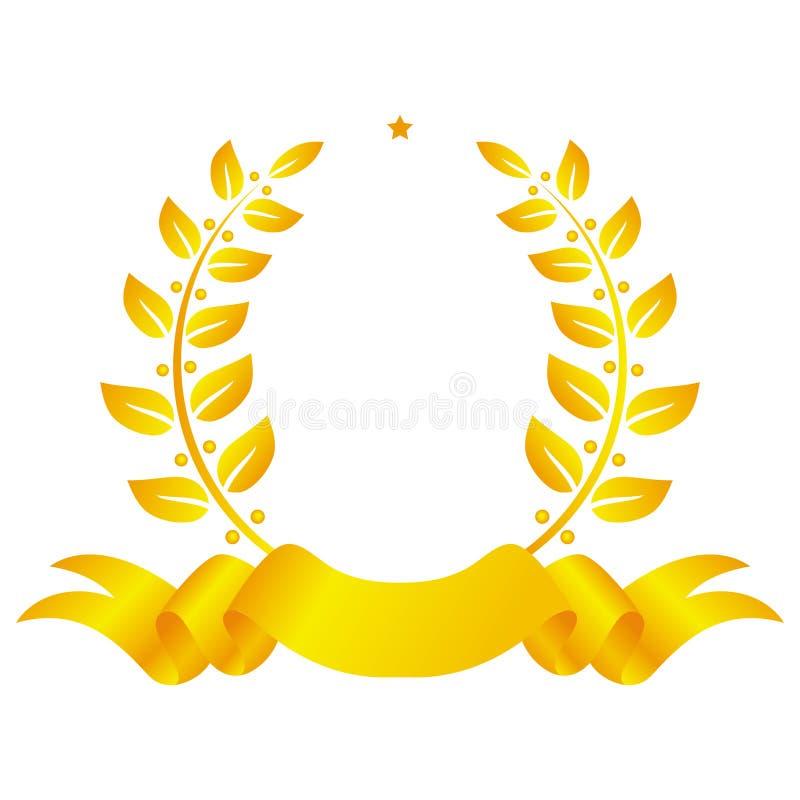 Une guirlande d'or de laurier avec une étoile et un ruban illustration libre de droits
