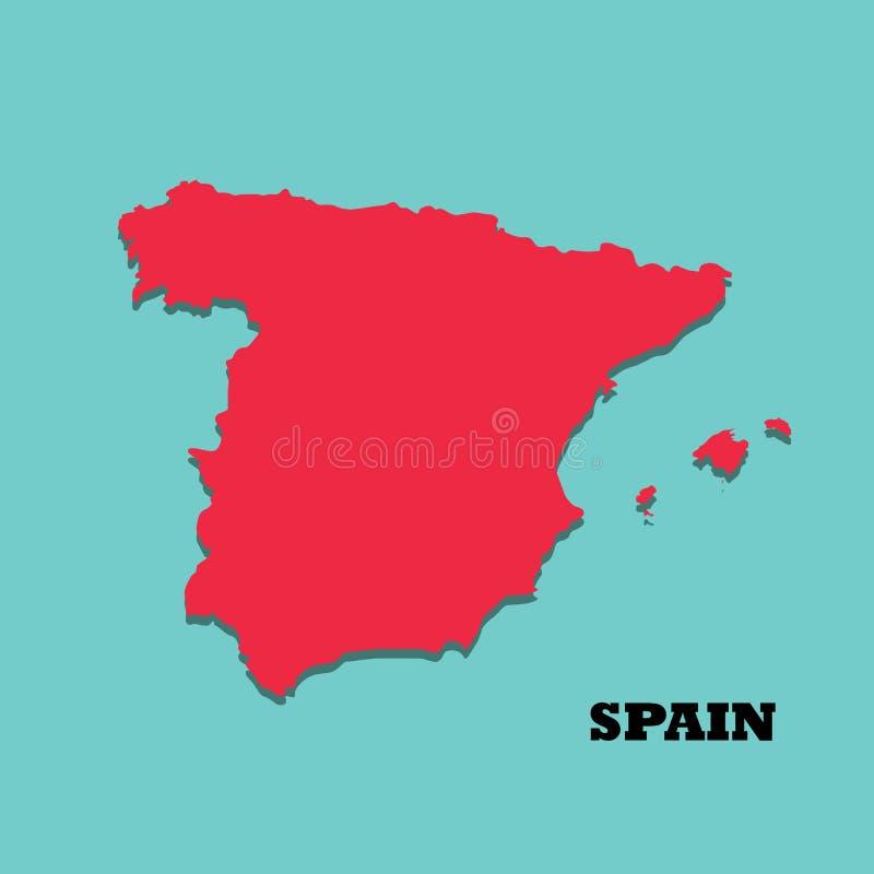 Une haute carte colorée détaillée de l'Espagne illustration stock