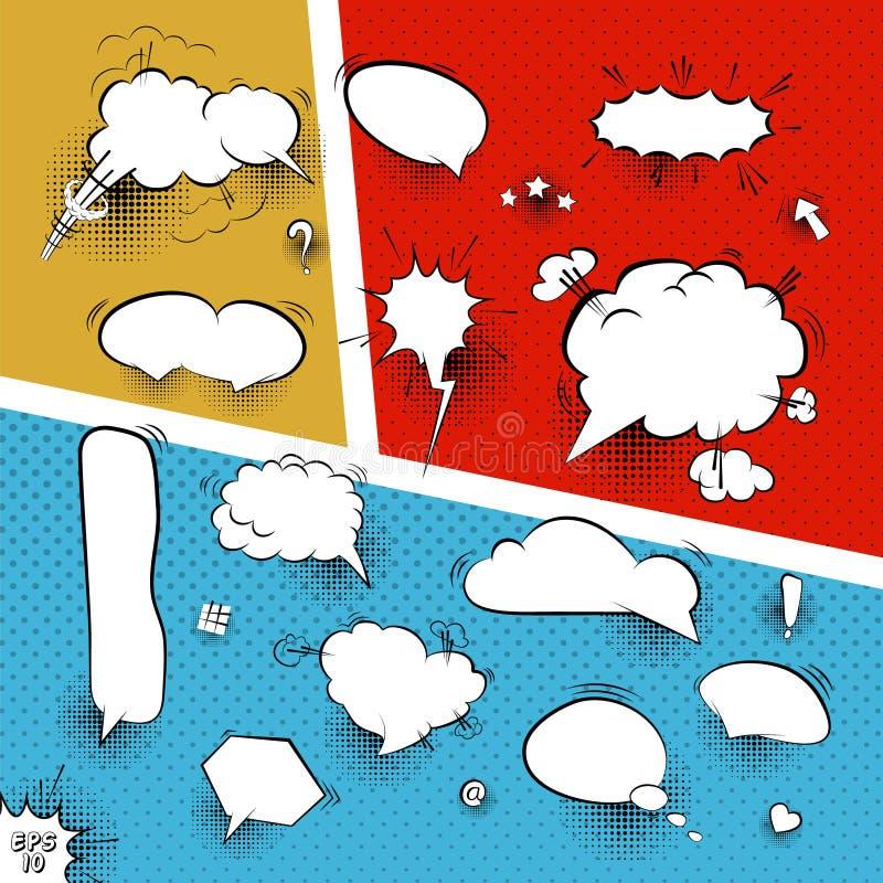 Une haute maquette de vecteur de détail d'une page typique de bande dessinée avec de diverses bulles de la parole illustration stock