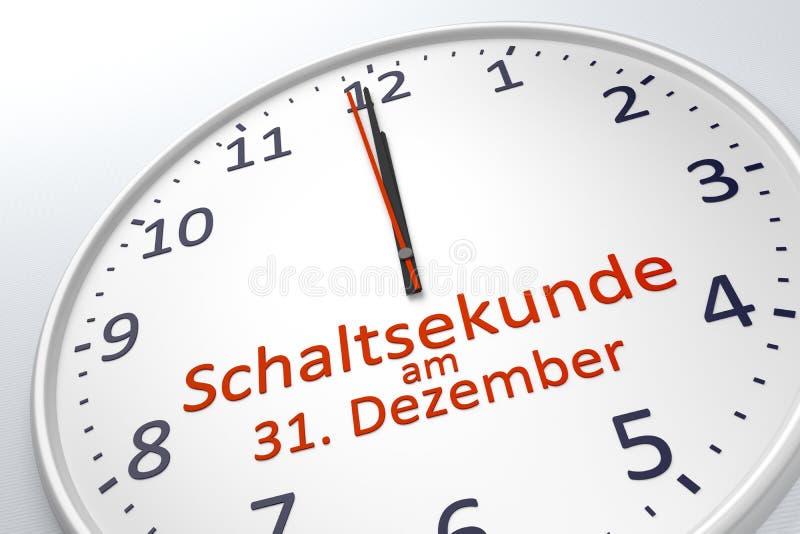 Une horloge montrant la seconde de saut au 31 décembre dans la langue allemande illustration libre de droits