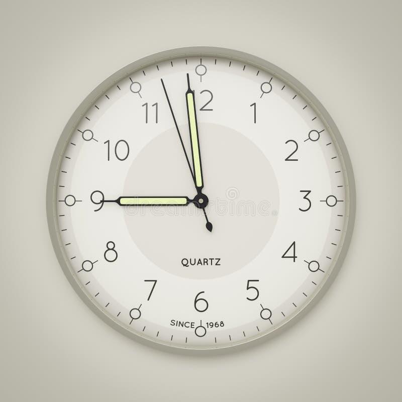 une horloge montrant trois secondes à neuf illustration stock