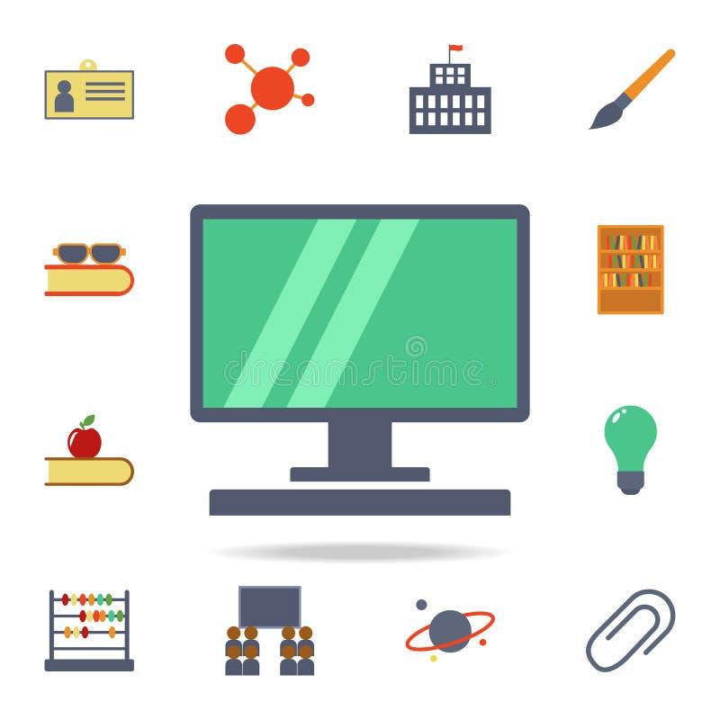 une icône colorée par ordinateur Ensemble détaillé d'icônes colorées d'éducation Conception graphique de la meilleure qualité Une illustration libre de droits