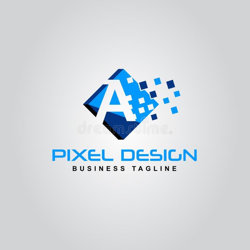 Une icône créative moderne de vecteur de conception de lettre d'alphabet de logo de pixel illustration stock