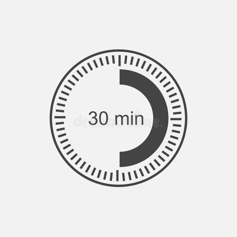 Une icône d'horloge indiquant un intervalle de 30 minutes trente MI illustration libre de droits