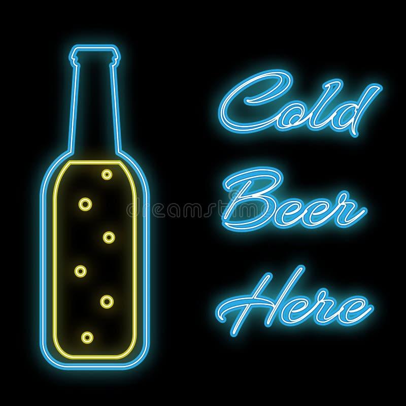 Une icône de clignotant bleue rougeoyante lumineuse au néon de résumé simple, une enseigne pour une barre d'une bouteille à bière illustration de vecteur