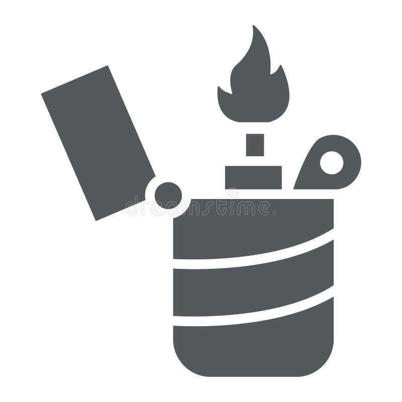 Une icône de glyph, un feu et une brûlure plus légers, signe de flamme, graphiques de vecteur, un modèle solide sur un fond blanc illustration libre de droits