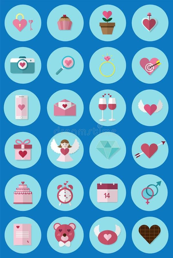 Une icône de jour du ` s de Valentine d'icône de l'ensemble 24 utilisée dans le media Collection de Valentine Icons illustration libre de droits