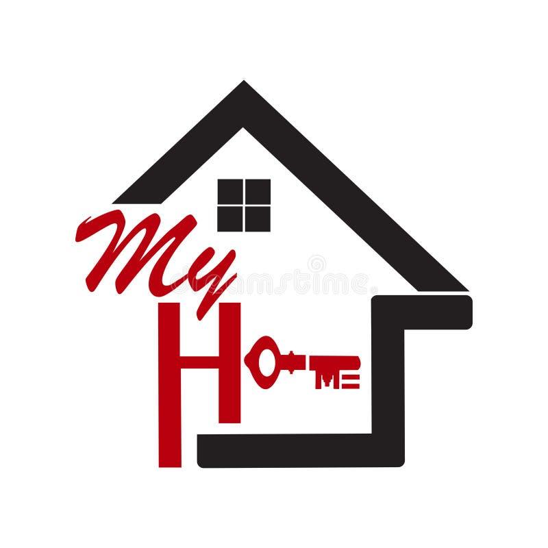 Une icône de maison avec l'écriture formée de la lettre illustration de vecteur