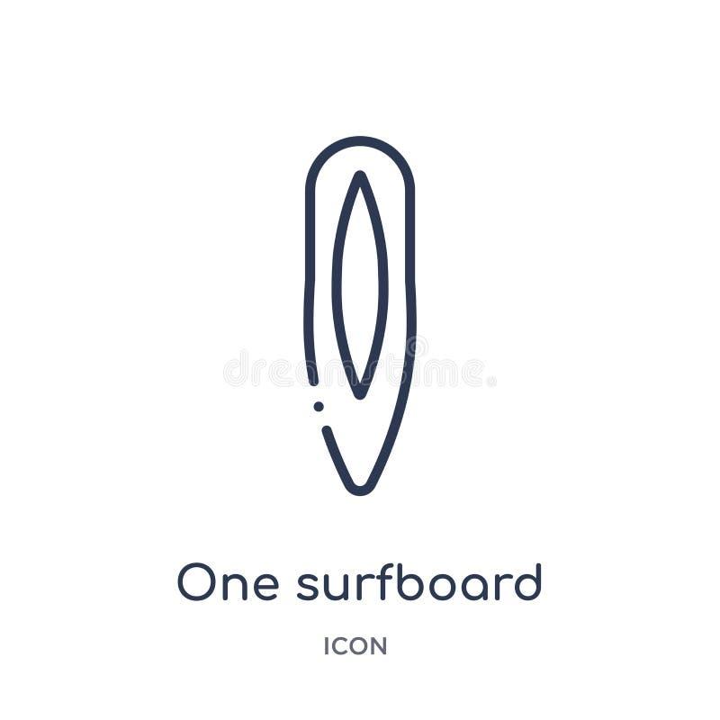 Une icône de planche de surf de la collection nautique d'ensemble Ligne mince une icône de planche de surf d'isolement sur le f illustration de vecteur