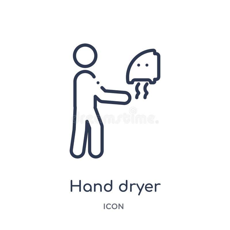 Une icône plus sèche de main linéaire de collection d'ensemble d'hygiène Ligne mince une icône plus sèche de main d'isolement sur illustration stock