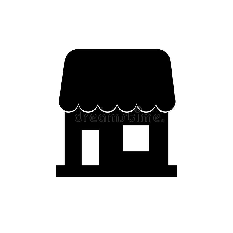 Une icône simple pour montrer le magasin, vendeur, silhouette de signe d'affaires d'isolement sur le fond blanc Style plat à la m illustration libre de droits