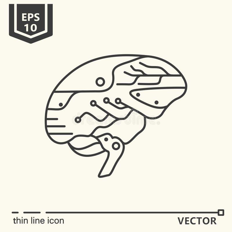Une icône Cerveau artificiel illustration stock