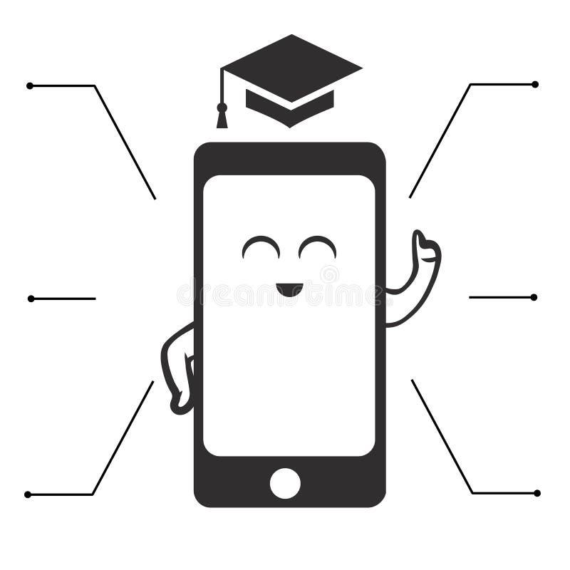 Une icône mignonne de téléphone d'enseignement illustration libre de droits