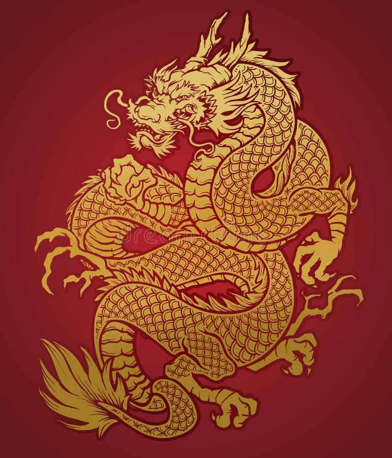 Or chinois enroulé de dragon sur le rouge illustration stock