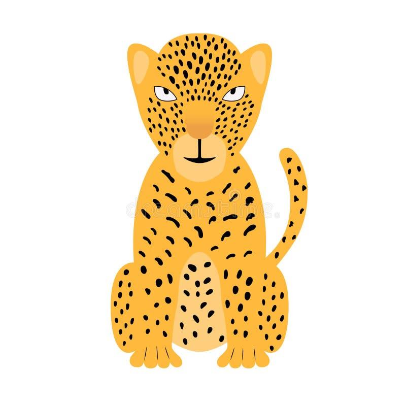 Une illustration colorée de jaguar Guépard de vecteur d'isolement sur le fond blanc, pour l'appli d'enfants, jeu, livre, autocoll illustration stock