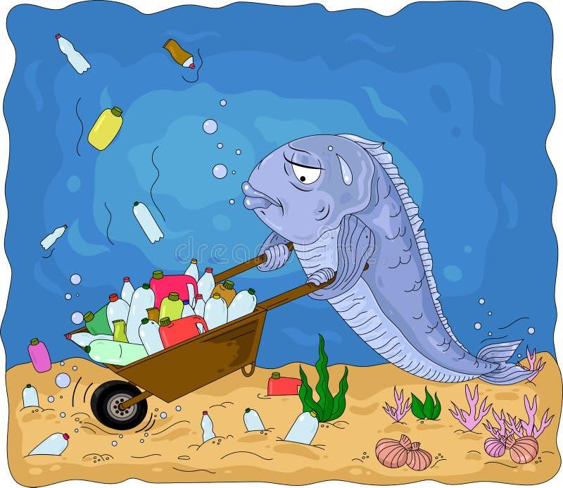 Une illustration conceptuelle de la pollution des oc?ans du monde avec les d?chets en plastique illustration de vecteur