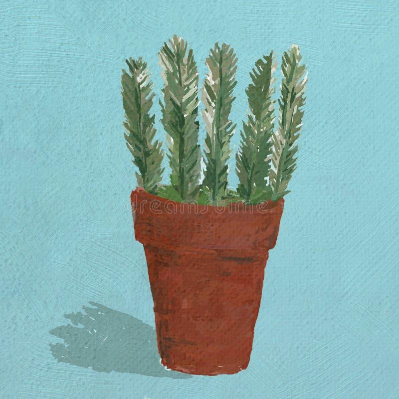 Une illustration d'un pot de terre cuite avec une usine de Rosemary photographie stock