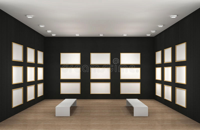 Une illustration d'une salle vide de musée avec des trames illustration de vecteur