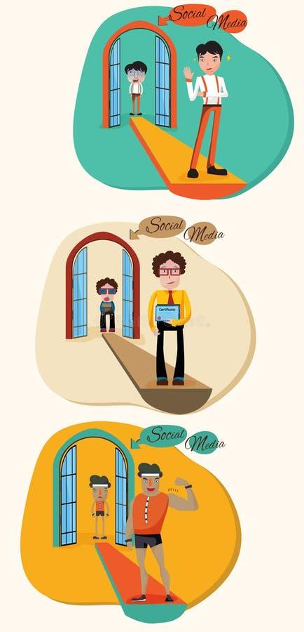 Une illustration de bande dessinée de concept de la façon dont le media social tourne un faible illustration libre de droits