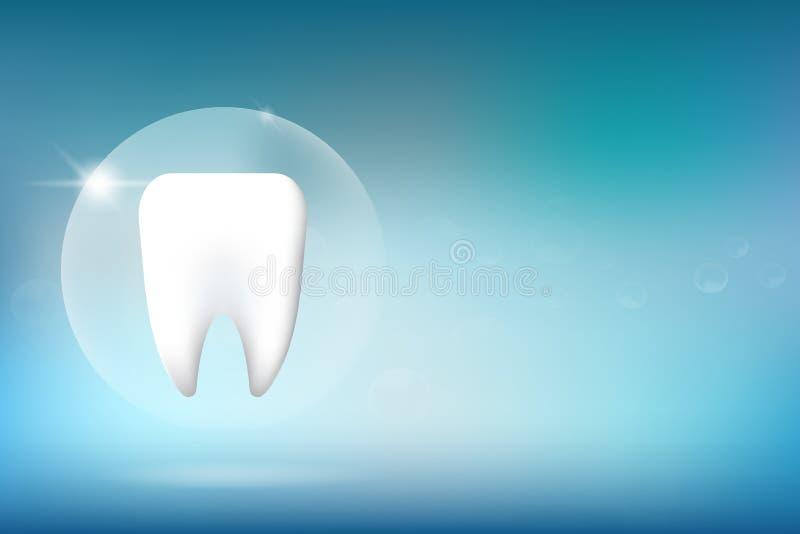 Une illustration de blanchiment de caractère de dent sur le fond bleu illustration libre de droits