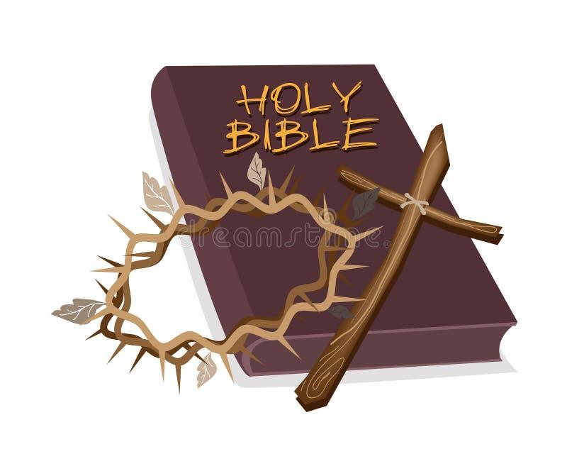 Sainte Bible avec la croix en bois et couronne d'épine illustration de vecteur