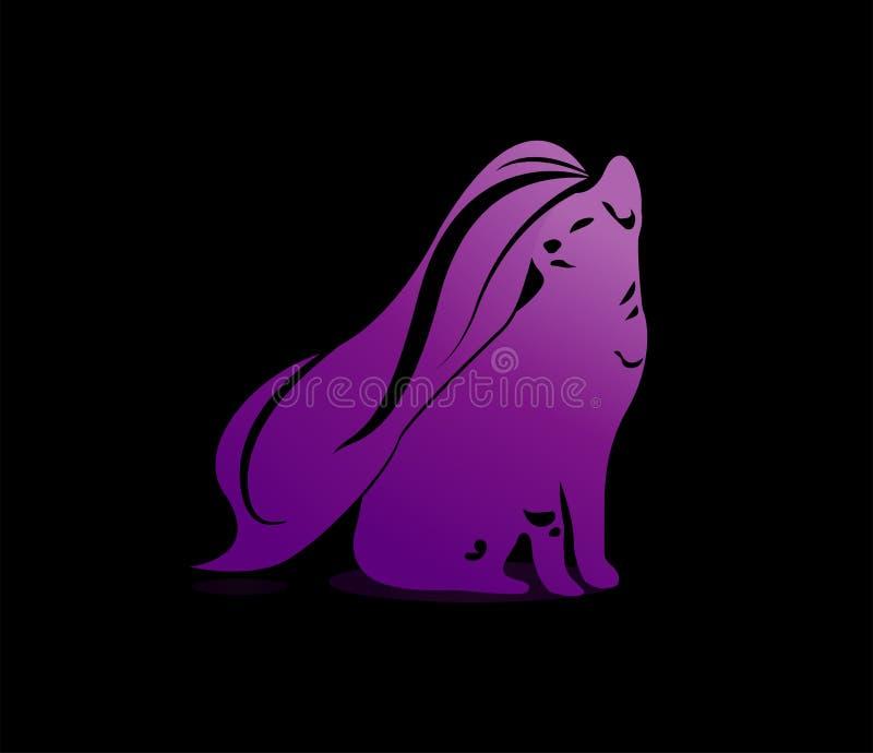 Une illustration de Cat With élégante de longs cheveux onduleux illustration libre de droits