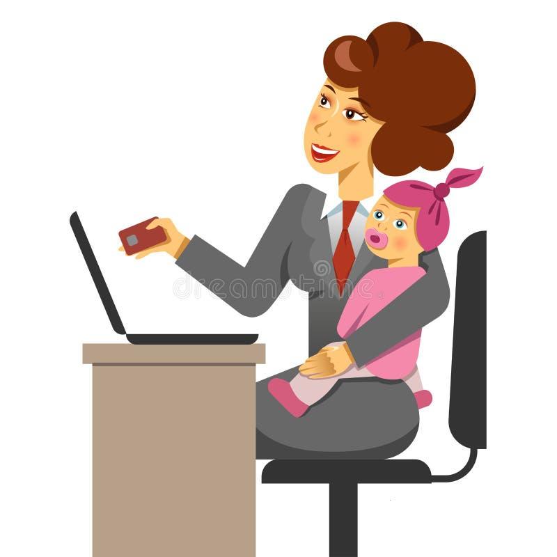 Une illustration de vecteur d'une mère avec un enfant tandis qu'achats d'Internet Équilibre de travail et de durée illustration stock