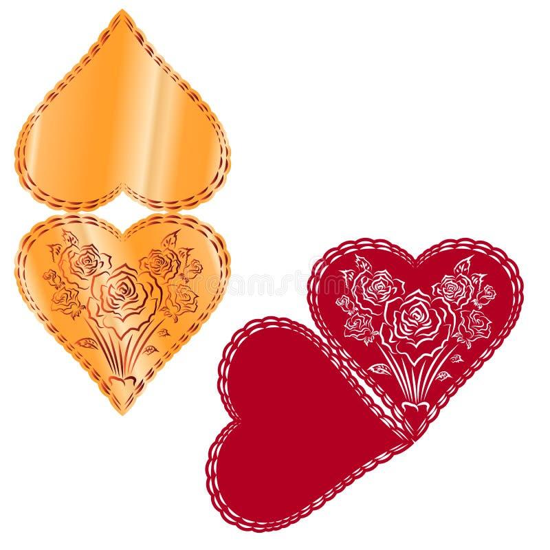 Une illustration de vecteur des coeurs roses, dentelle géométrique à la nature i illustration stock