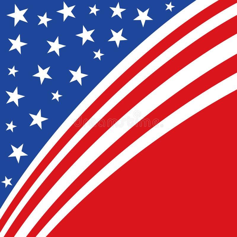 Une illustration patriotique américaine abstraite des rayures et des étoiles diagonales en rouge et bleu illustration de vecteur