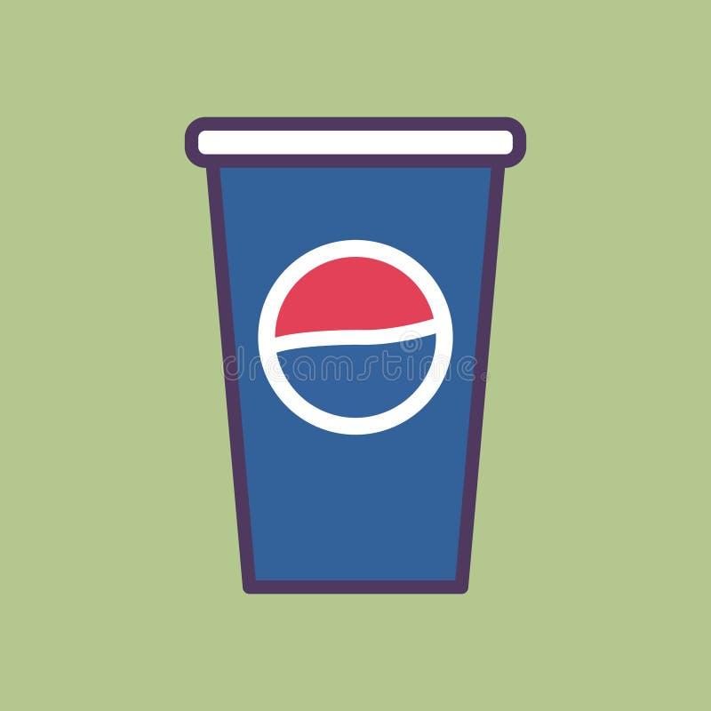 Une illustration plate de haute qualité de vecteur d'une tasse de Pepsi illustration de vecteur