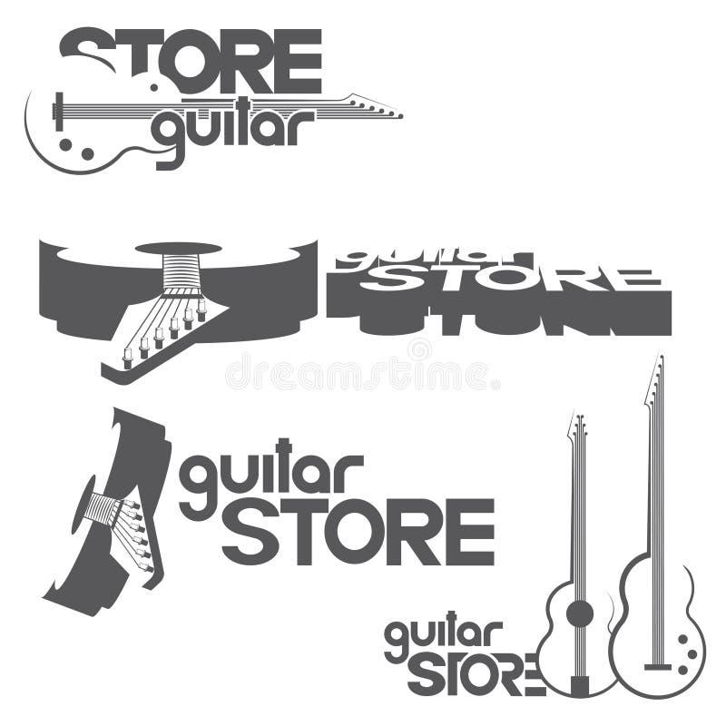une illustration se composant de quatre images différentes des guitares avec la guitare de ` d'inscription stockent le ` illustration stock