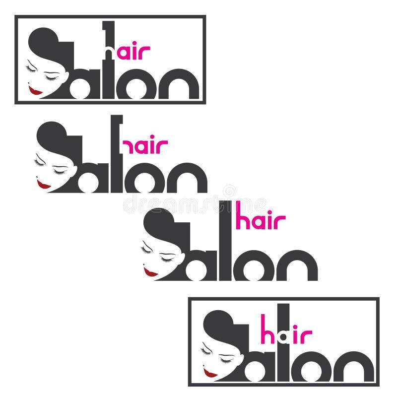 une illustration se composant de quatre images différentes de la tête femelle et du ` de salon de coiffure de ` d'inscription illustration libre de droits