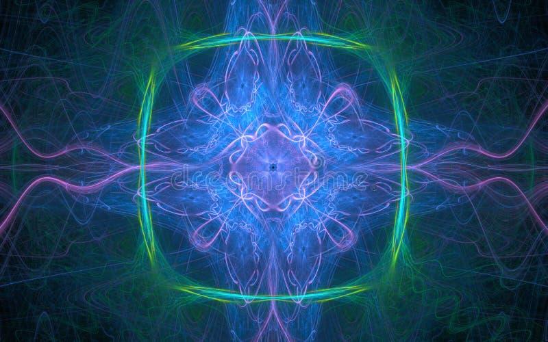 Une image abstraite fantastique des lignes d'énergie du lilas, bleu, vert sur le fond d'une vague de lignes tirées minces de diff photo stock