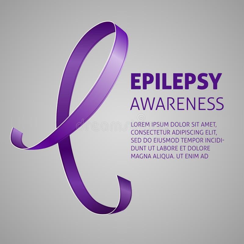 Une image carrée de vecteur avec un ruban pourpre comme symbole de conscience d'épilepsie Un jour d'épilepsie du monde Un calibre illustration de vecteur