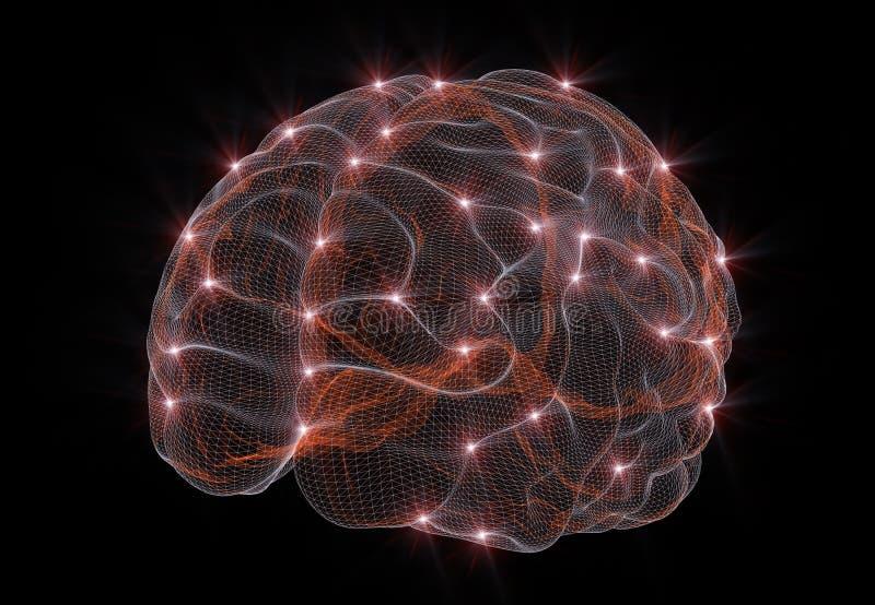 Une image conceptuelle représentant les réseaux neurologiques en intelligence artificielle illustration de vecteur