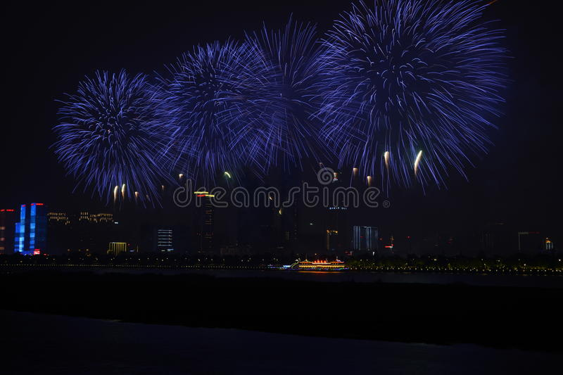 Une image d'beaux feux d'artifice chez Hunan Tchang-cha (Chine) image stock
