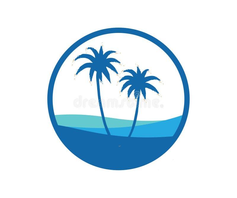 Une image de deux palmiers dans la couleur bleue dans un cercle illustration stock