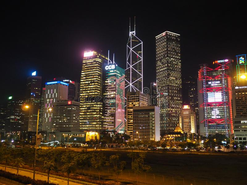Une image de l'horizon de Hong Kong pris de l'homme Yiu Street images stock