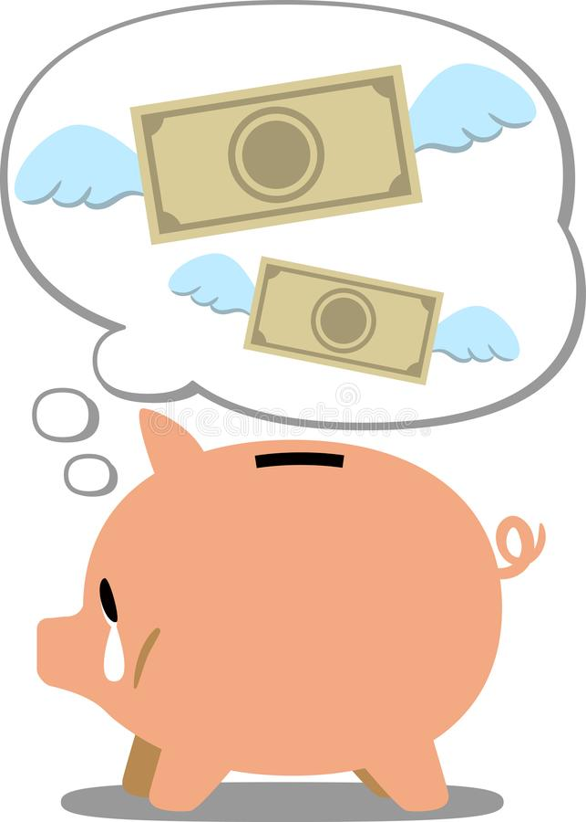 Une image de la richesse pleurante de perte de tirelire du ` s de porc illustration stock