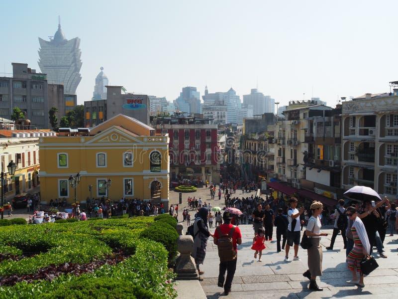 Une image de Macao rempli de touriste des ruines de St Paul images libres de droits