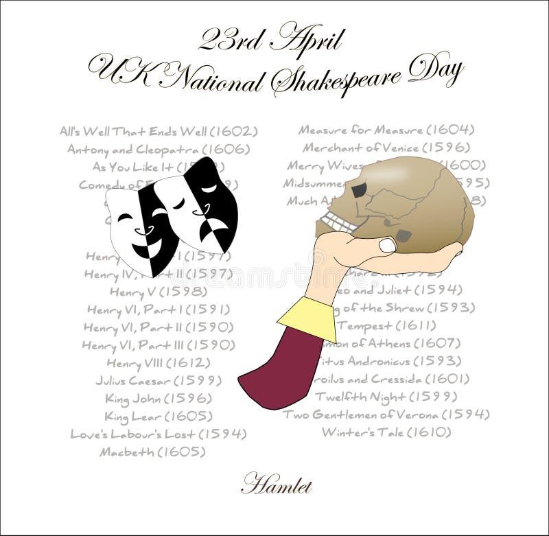 Une image pour le jour national BRITANNIQUE de Shakespeare illustration stock