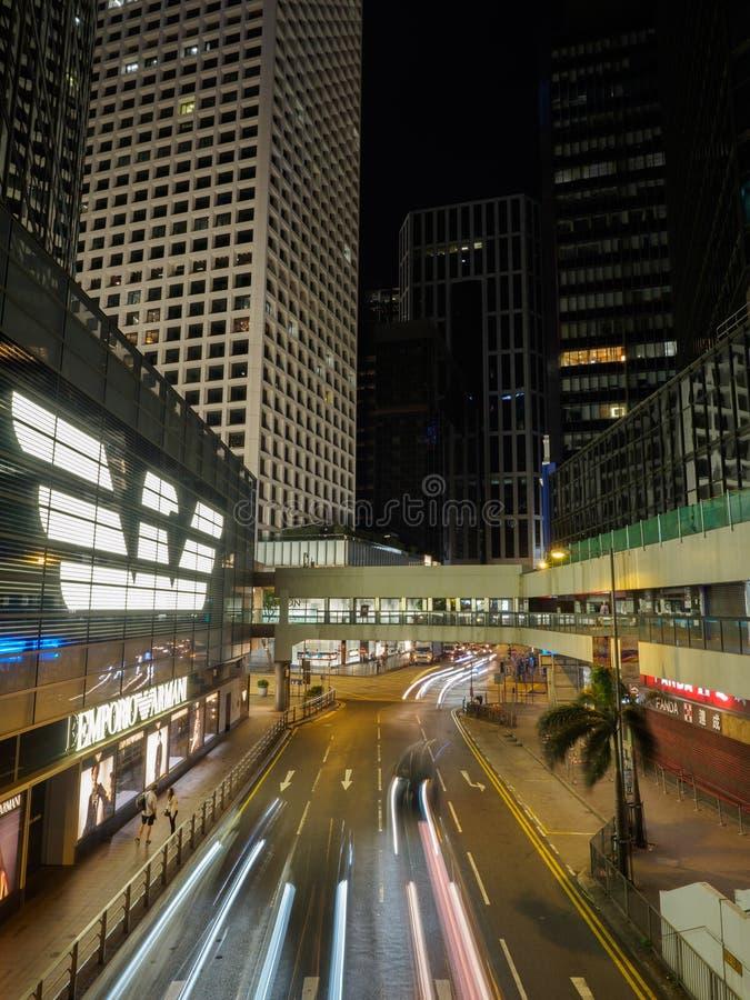 Une image prise la nuit d'endroit de Connaught en Hong Kong images stock