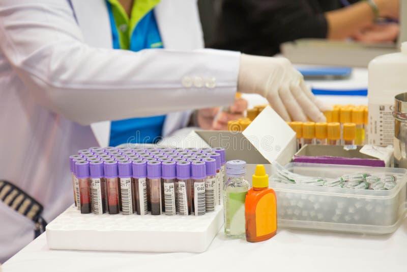 Une infirmière arrange des tubes à essai avec le sang sur un plateau photographie stock libre de droits