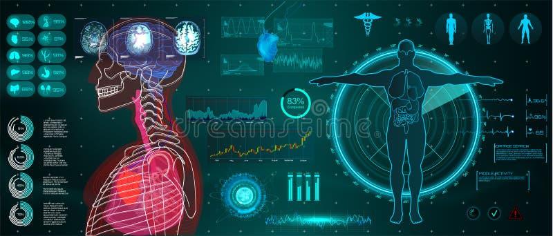 Une interface médicale moderne pour surveiller le balayage et l'analyse humains illustration de vecteur