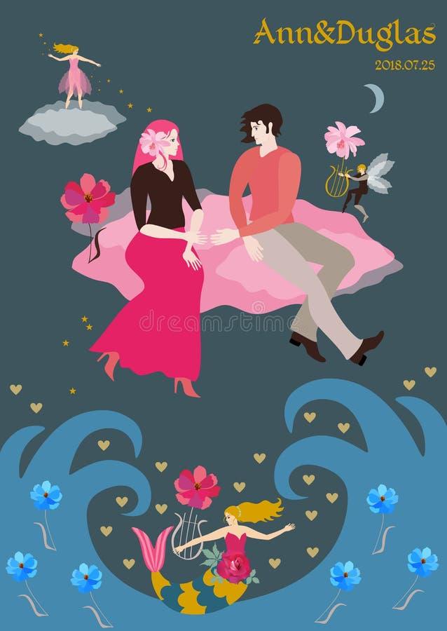 Une invitation l'épousant fabuleuse La mouche de jeunes mariés à travers le ciel sur les nuages roses, un petit elfe à ailes joue illustration de vecteur
