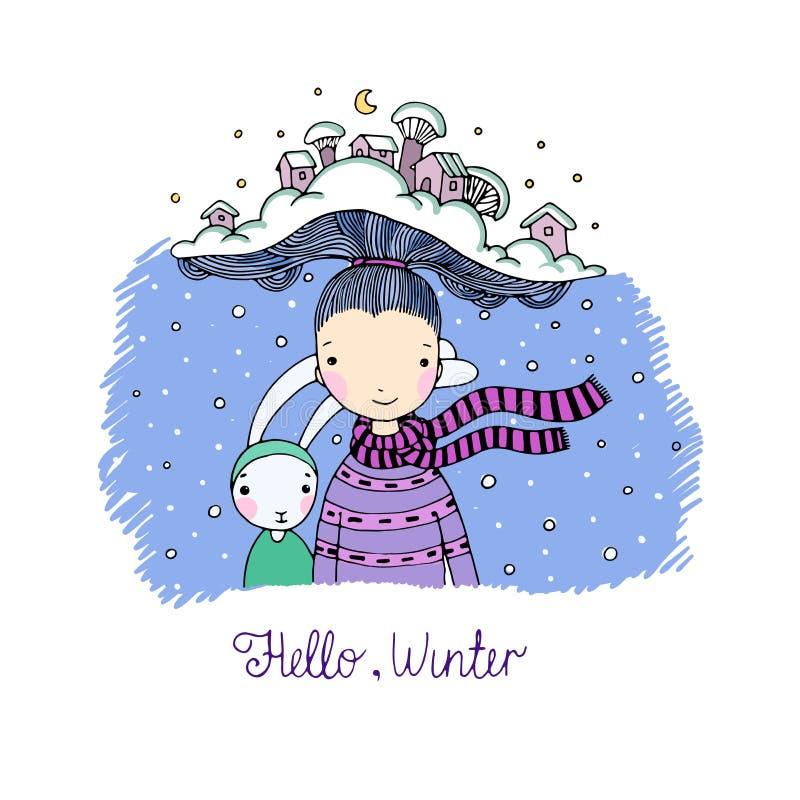 Une jeune belle fille avec le chapeau intéressant et ses lièvres d'ami Village de l'hiver illustration de vecteur
