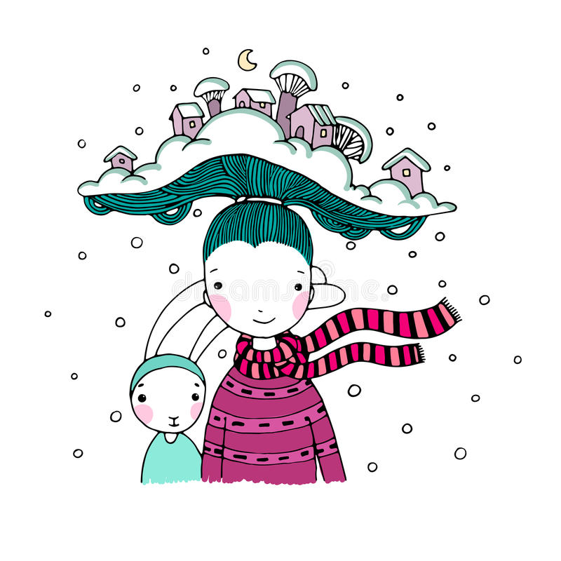 Une jeune belle fille avec le chapeau intéressant et ses lièvres d'ami Village de l'hiver illustration stock