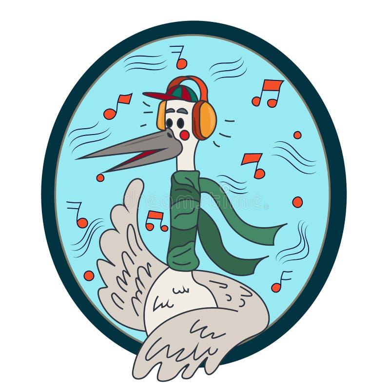 Une jeune cigogne écoutant la musique sur des écouteurs Collection du ` s de nouvelle année illustration libre de droits